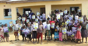 mosquito nets being given out to the children of Bwiketo Community Forest
